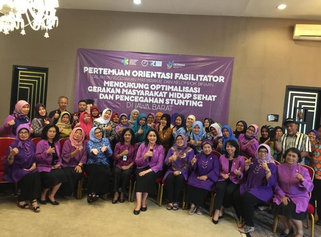 PERTEMUAN ORIENTASI DI PROVINSI  PENGUATAN KAPASITAS FASILITATOR ALIANSI PITA PUTIH INDONESIA DALAM OPTIMALISASI GERMAS DAN PENCEGAHAN  STUNTING DI  JAWA   BARAT